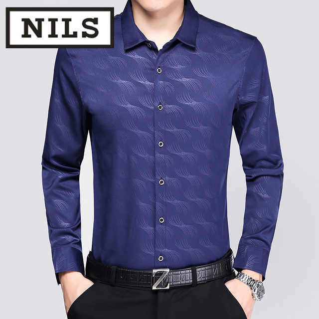 Mid Autumn Men S Long Sleeved Shirt Business Casual Dad Installed