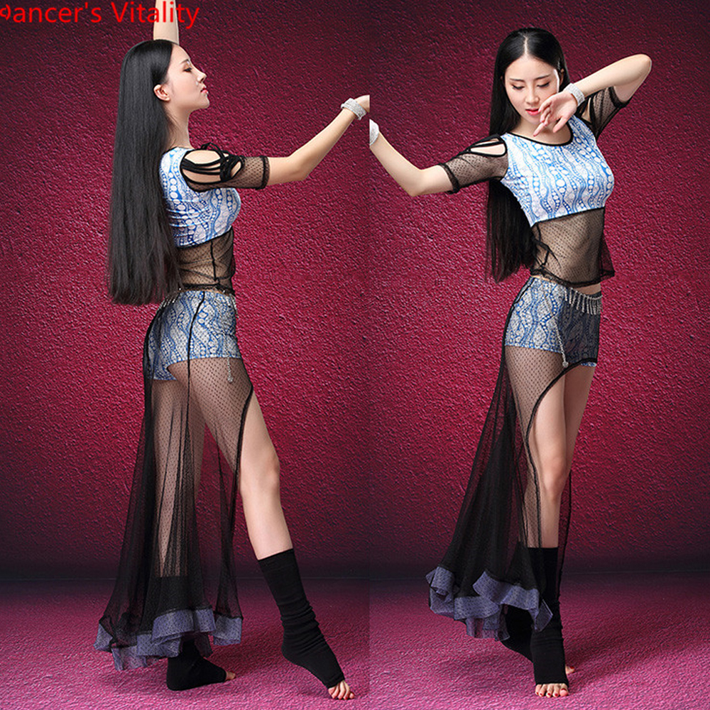 2018 Autumn Winter Women Competition Dancewear Belly Dance Practice Dress Top And Skirt Belly Dancing Girls 2pcs Set
