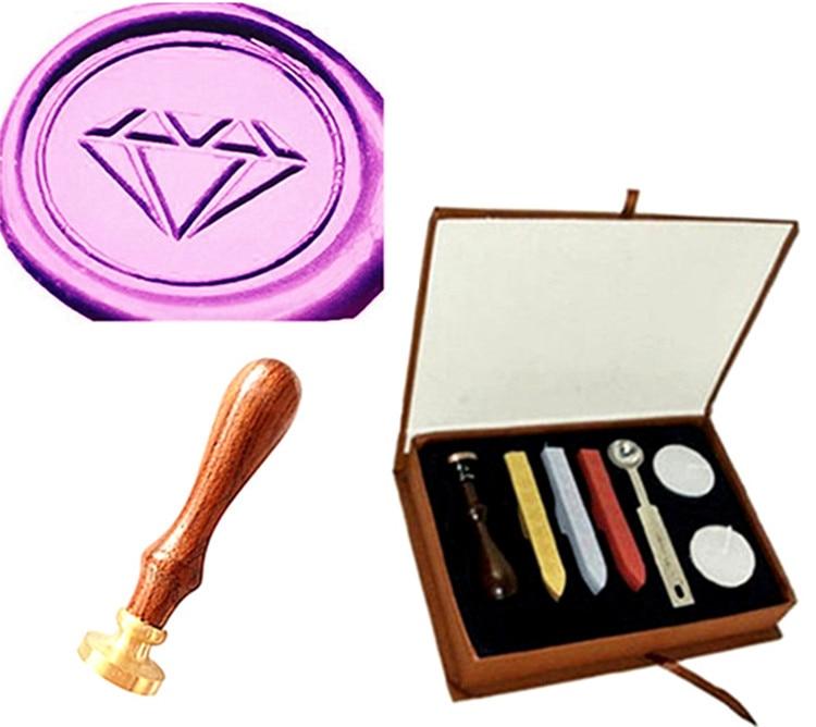 Custom Logo Vintage Diamond Picture Wedding Invitation Wax Seal Sealing Stamp Sticks Spoon Gift Box Set Kit vintage fancy wax seal stamp sticks spoon set gift thank you letters style hogard