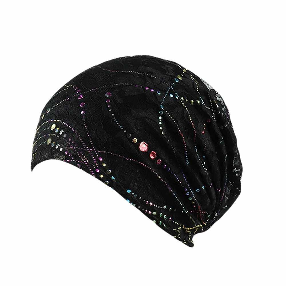 2020 Hot Penjualan Berbagai Warna Wanita India Muslim Stretch Sorban Hat Multicolor Renda Rambut Rontok Kepala Syal Bungkus Drop Pengiriman