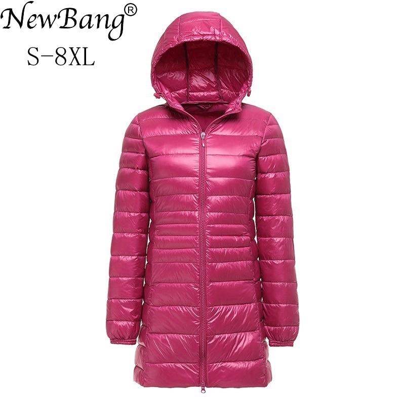 NewBang Brand 7XL 8XL Plus Women's Down Coat Ultra Light Down Jacket Women Lightweight Autumn Winter Hooded Long Down Coat