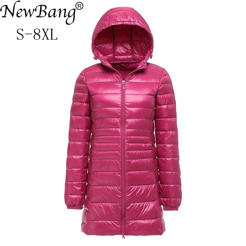 NewBang Brand 7XL 8XL Plus Women's   Down     Coat   Ultra Light   Down   Jacket Women Lightweight Autumn Winter Hooded Long   Down     Coat