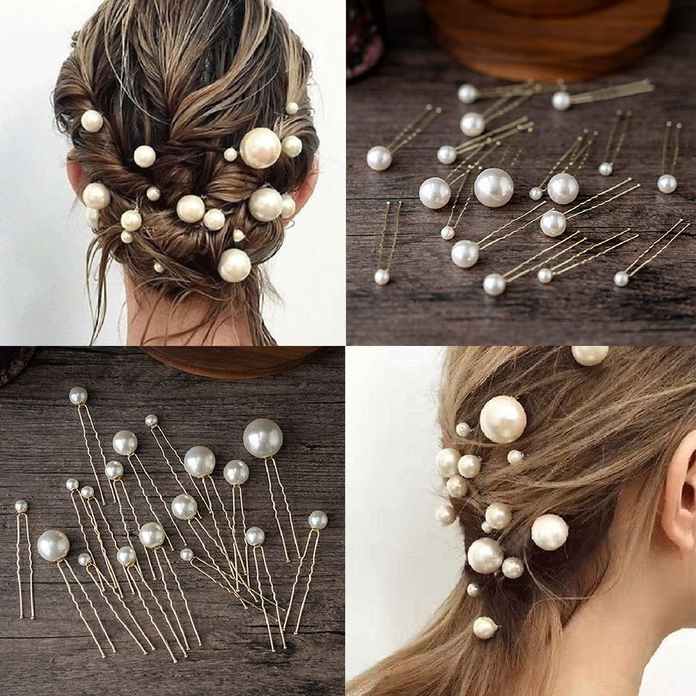 20Pcs Pearl U-shaped Pin Hairpin Bridal Tiara Hair Accessories Wedding Hairstyle Design Tools Disk Hair Haippins