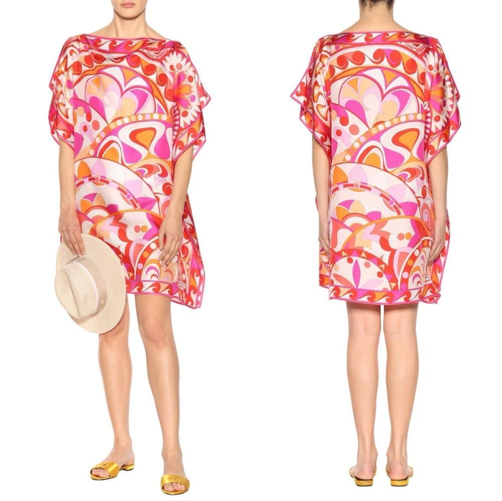 New Women s Batwing Sleeve Loose Print Fashion Slash Stretch Knitted silk jersey Dress