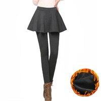 4XL בתוספת גודל חורף Fittness חותלות נשים חצאית צועד אפור שחור מכנסיים מקרית סקיני Leggins חותלות חמות 2016 A757