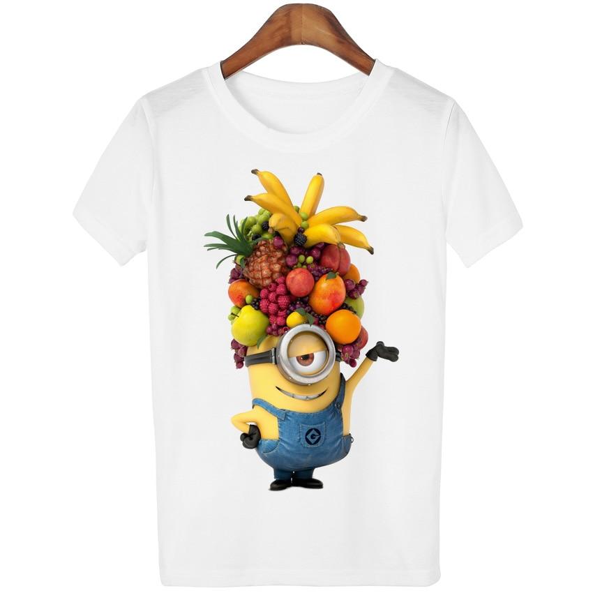 T Shirt Women 2016 Summer Tops Fruits Minions Print T-shirt Femme Loose Short Sleeve Harajuku White Tees Camisetas Mujer