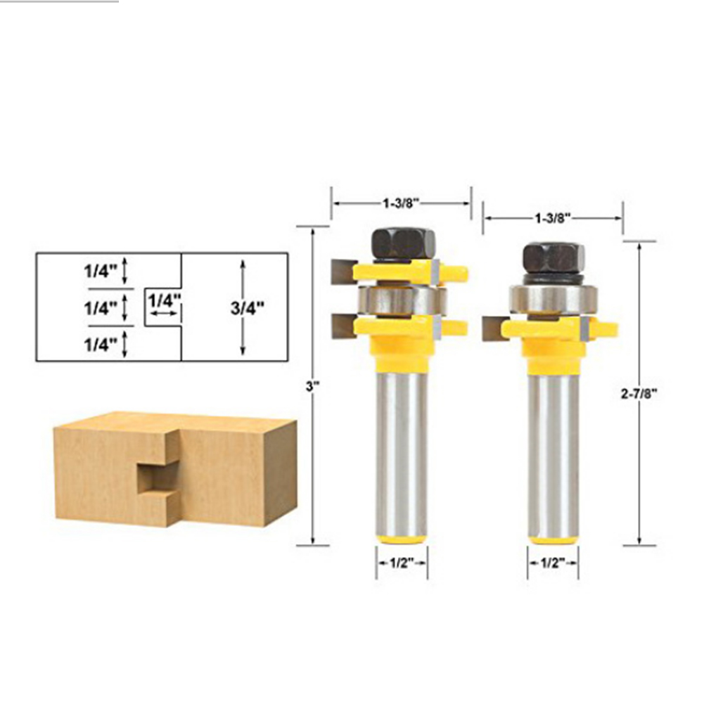 New 2Pcs Tongue & Groove Router Bit Set 1/4 x 1/4 - 1/2 Shank 3 Teeth T-shape Wood For Woodworking Tool high grade carbide alloy 1 2 shank 2 1 4 dia bottom cleaning router bit woodworking milling cutter for mdf wood 55mm mayitr
