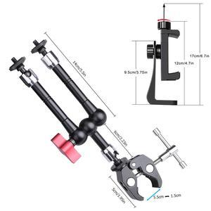 Image 2 - Soporte de brazo mágico de fricción articulada ajustable, pinza para cámaras de acción, micrófono, soporte cabezal para vehículo