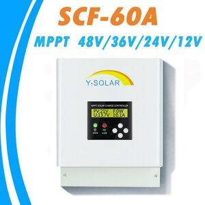 Контроллер заряда на солнечной батарее MPPT 60A, 48 В/36 В/24 В/12 В для панели солнечных батарей макс. 150 в, двойной вентилятор охлаждения, порт связи ...