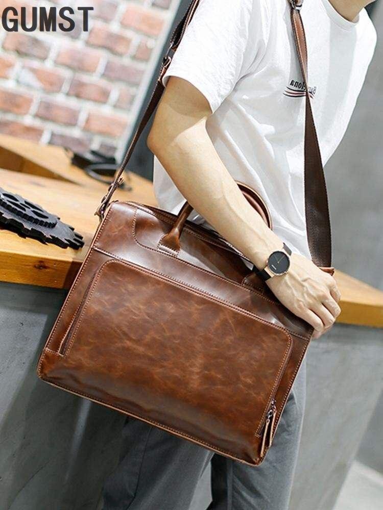 GUMST Crazy Horse PU Leather Men Bags Vintage Business Leather Briefcase Men's Briefcase Men Travel Bags Tote Laptop Bag Man Bag