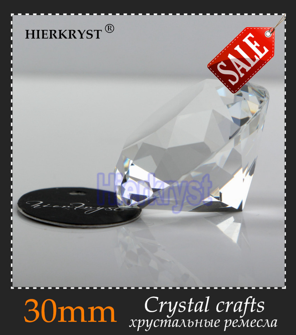 HIERKYST 1pc Clear Glass Crystal Diamond Paperweight Rainbows Cut Crafts Wedding Decoration Europe Style Ornaments 30mm #2005-10