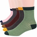 RioRiva 5Pairs/lot Men Formal Dress Socks US 6-11/EU 39-45 Pinstripe Mid Calf Cotton Blend Gift Box Sox stripe Business Socks