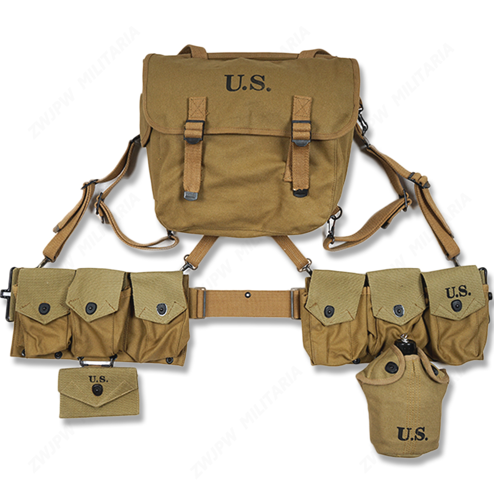 WW2 US ARMY EQUIPMENT M36 BAG BELT FIRST AID KIT AND 0.8L KETTLE X TYPE STRAPS SIX CELL POUCH