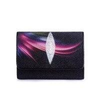 Aurora Printing Magnet Button Closure Women Short Purse Female Coin Pocket Wallet Genuine Stingray Skin Lady Small Clutch Wallet