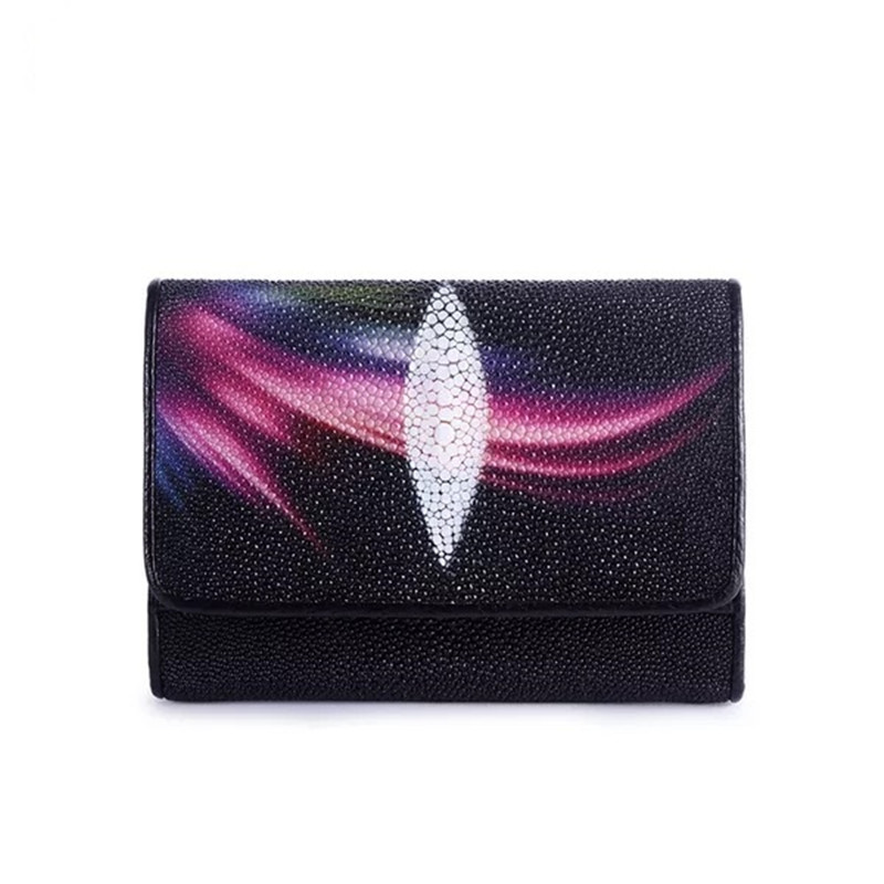 Fashion Aurora Printing Women Short Purse Female Coin Pocket Three-fold Wallet Genuine Stingray Skin Ladies Small Clutch Wallet high quality genuine leather women wallet short small coin purse fashion female clutch vintage 3 fold ladies leather wallet rfid
