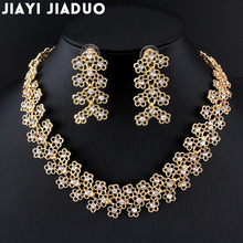 Best Seller jiayijiaduo new wedding Jewelry set gold color necklace earrings African beads fashion women  fashion accessories