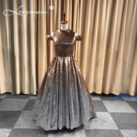 High Neck Sequin Gradual Color Of Gold And Silve Prom Dress A Line Court Train Formal