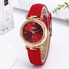 Fashion Women Leather Casual Watch Luxury Analog Quartz Crystal Wristwatch F604