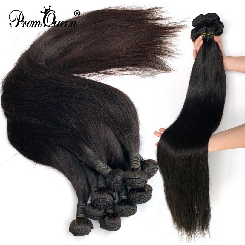 Promqueen Wholesale Brazilian Hair Weave Bundles Remy Hair Weaving Natural Color 30 32 34 40 Inch Human Hair Bundles Extension
