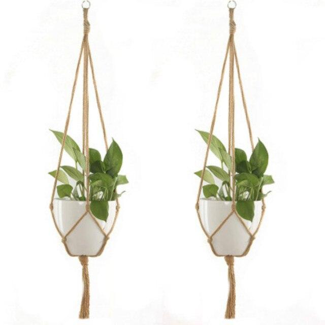 Knotted Macrame Plant Hanger Basket Vintage Cotton Linen Flowerpot Basket Lifting Rope Hanging Basket Pot Holder Garden Tools