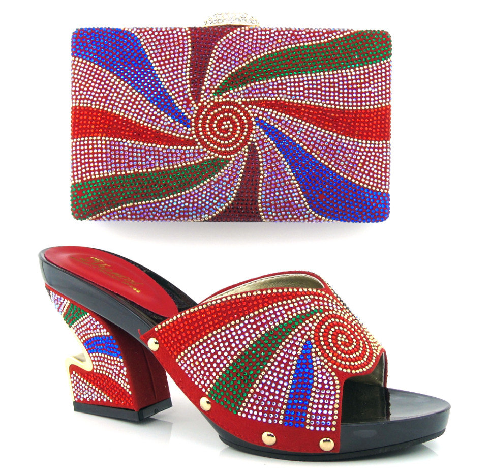 ФОТО Italian shoe with matching bag set,African women shoe and bag to match set for party high qulaity shoes set For red MQQ1-19