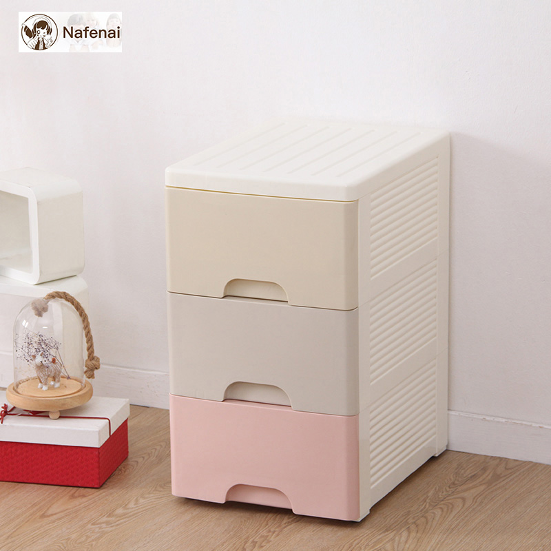 Plastic storage drawers kitchen storage box cabinet with wheels three layer box organizer for clothing food storage box for toys