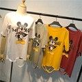 Mujeres Mickey Batman Agujeros Rasgados de Caracteres de Impresión de Dibujos Animados Camisetas de Algodón Femenino 2017 Verano Harajuku Vintage Tee Casual Tops