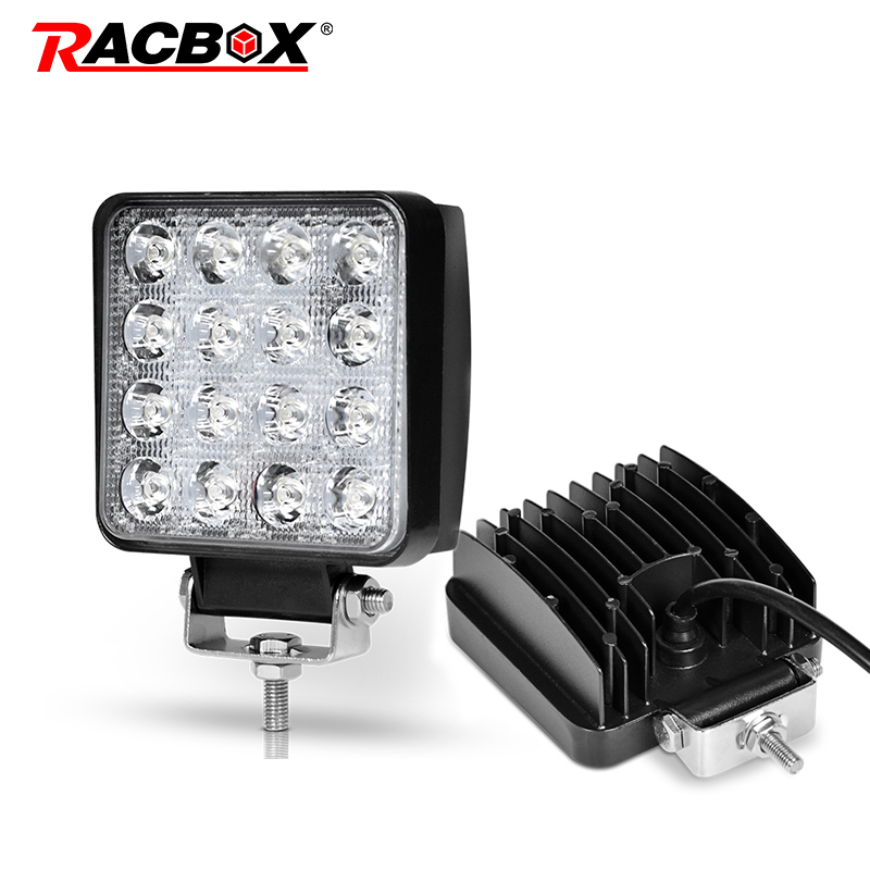 2PCS Square 48W LED Work Light Bar Spot Beam Off Road Fog Car Driving Truck  ATV