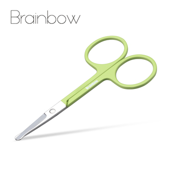 Brainbow 1pc Rounded Nose Hair Scissors Stainless Steel Small Makeup Scissors Eyebrow Eye Lashes Safe Epilator Face Hair Remover