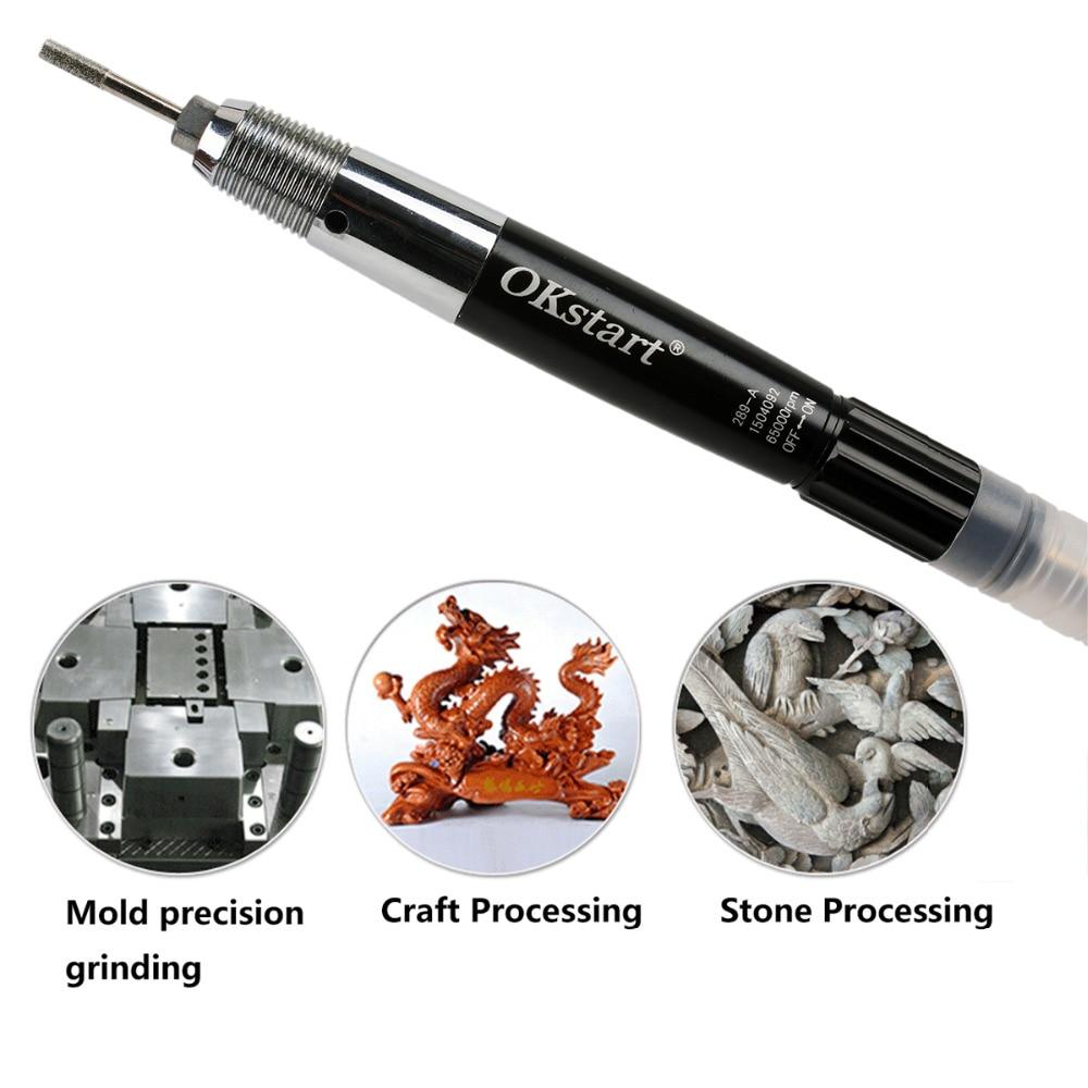 VALIANTOIN 1/8'' Micro Air Pencil Die Grinder Kit 65000rpm Pneumatic Pencil Grinder For Detail Sanding Grinding Engraving Work