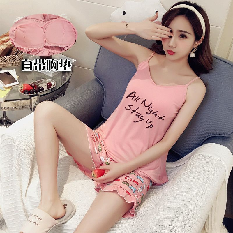 Summer New Pattern   Pajamas   Woman Printing Camisole Vest Twinset With Pad Spaghetti Strap Sweet   Pajama     Set