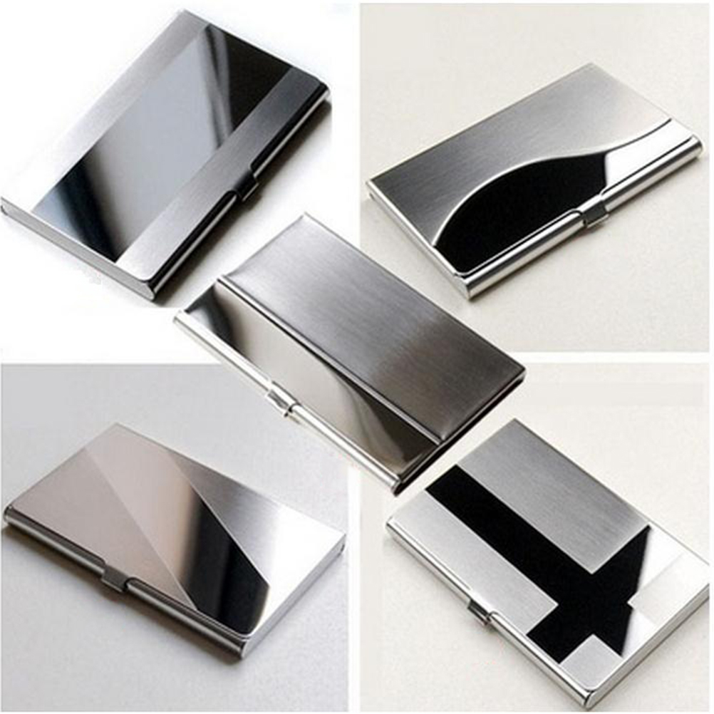 1pc Waterproof Stainless Steel Metal Case Box Business Id Credit Card Holder Case Cover Desk Accessories & Organizer
