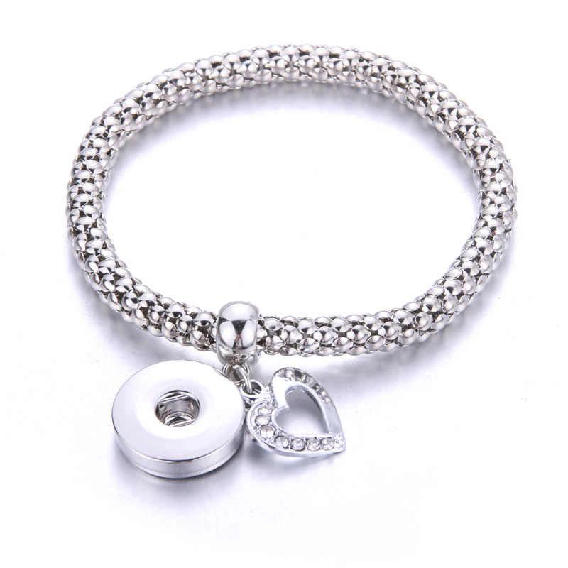 Пояс жизни новый серебряный браслет с застежкой для женщин подходит DIY 18 мм оснастки ювелирные изделия эластичные кнопки браслет ювелирные изделия 7467