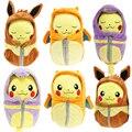 6 style 20cm 30cm Pokenmon Pikachu Cosplay Charizard Ichiban Kuji Nebukuro Eevee Sleeping Bag Ekans Plush Doll Cartoon Kids Toys