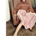 Буэнос-Ниньо классический велюр плиссированные юбки твердые розовый зеленый высокая талия осень зима все матч элегантные юбки 8 цвета 40