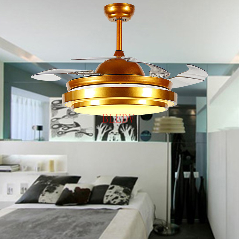 Ceiling Fans Generous 42inch Factory Wholesale Modern Invisible Fan Lights Acrylic Leaf Led Ceiling Fans 110v/220v Wireless Control Ceiling Fan Light