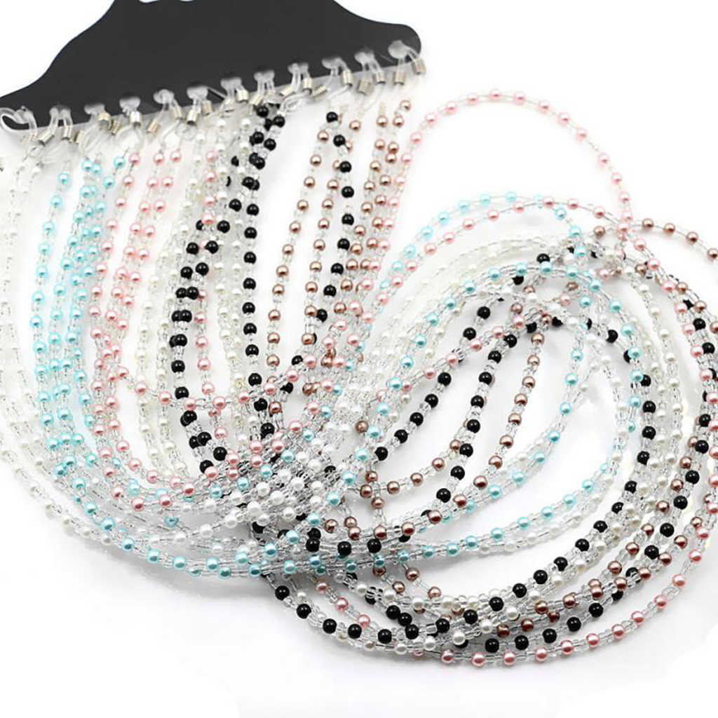12PCS Pearl Beads Eyeglass Cord for Women Reading Glasses Eyewear Spectacle Chain Rope Holder brillen koord
