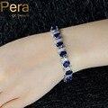 2017 Diseño Europeo Azul Cubic Zircon Crystal Piedra Blanca Natural 925 Joyería de Plata Esterlina Pulsera Grande De la mujer B079