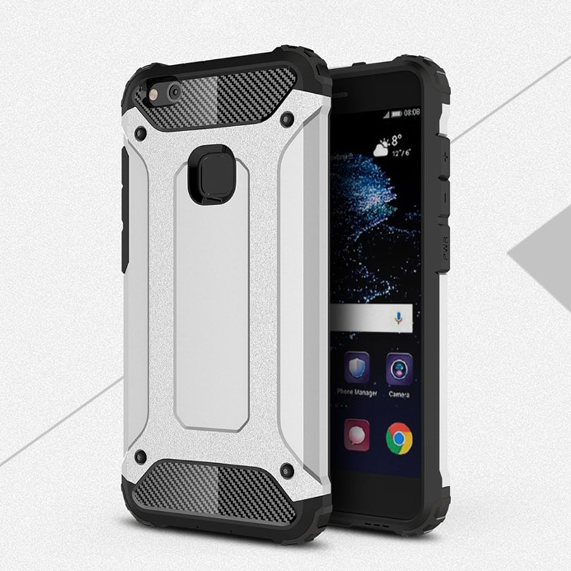 Para huawei p10 lite fibra de carbono del teléfono case cubierta de silicona par