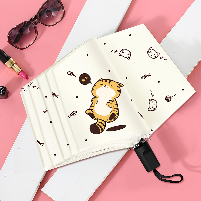 8253230eade95b Cute Cartoon Cat Umbrella Rain Women Folding Umbrellas Mini Umbrella Female  Sunny Parasol Lovely Windproof Umbrella Rain Women