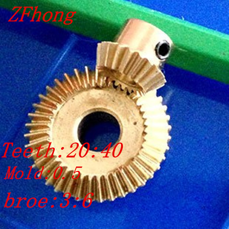 A pair 1:2 brass Bevel Gear Brass 20 Teeth and 40 Teeth Right Angle Transmission parts machine parts DIYA pair 1:2 brass Bevel Gear Brass 20 Teeth and 40 Teeth Right Angle Transmission parts machine parts DIY