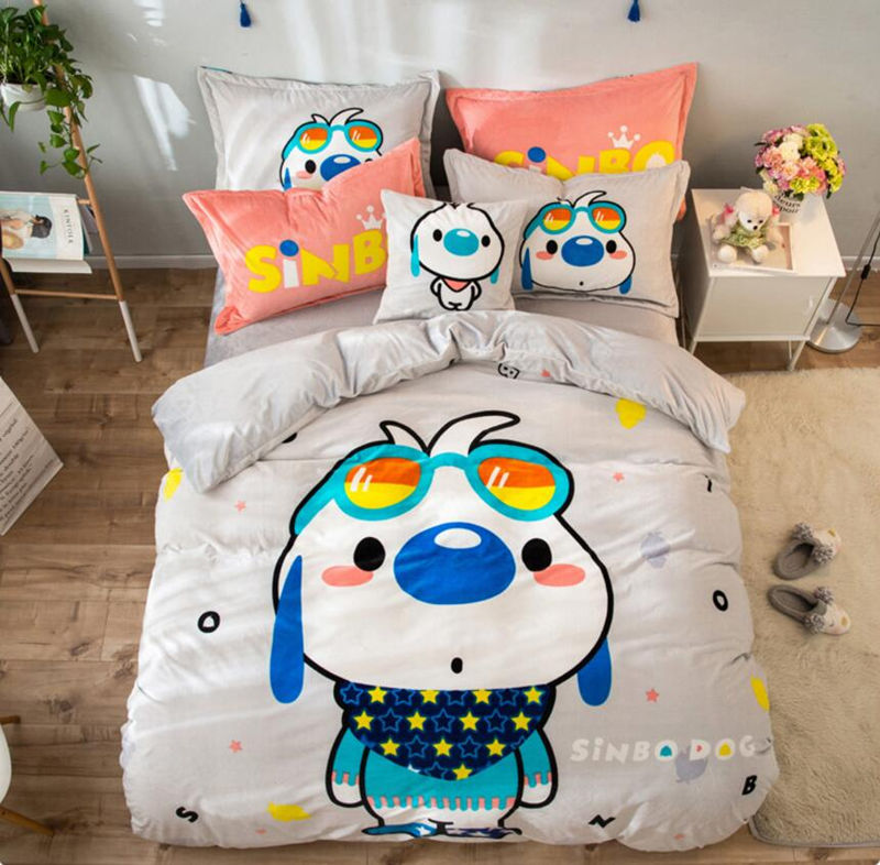 Cute dog Embroidery bedding sets Fleece fabric duvet cover pillowcase bed sheet twin full queen duvet cover king sizeCute dog Embroidery bedding sets Fleece fabric duvet cover pillowcase bed sheet twin full queen duvet cover king size