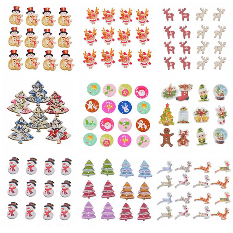 Hoomall 50PCs Christmas Wooden Buttons For Clothing Snowman Rinedeer Round Sewing Buttons For Children DIY Crafts Navidad 2018 button