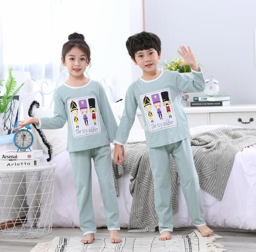 2Pcs Kids Pajama Sets Children Sleepwear Baby Girl Pajamas Sets Boys Girls Solid Soft Pyjamas Cotton Nightwear Sleepwear 2-12Y(China)