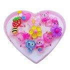 12pcs/Set Kids Cartoon Rings Children's Rings for Girls Flower Cartoon Animal Ring Set Finger Rings Jewelry Heart Display Box