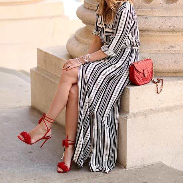 placeholder YJSFG HOUSE Black And White Striped Maxi Shirt Dress Long  Elegant Maxi Party Dresses High Split 641308fd2