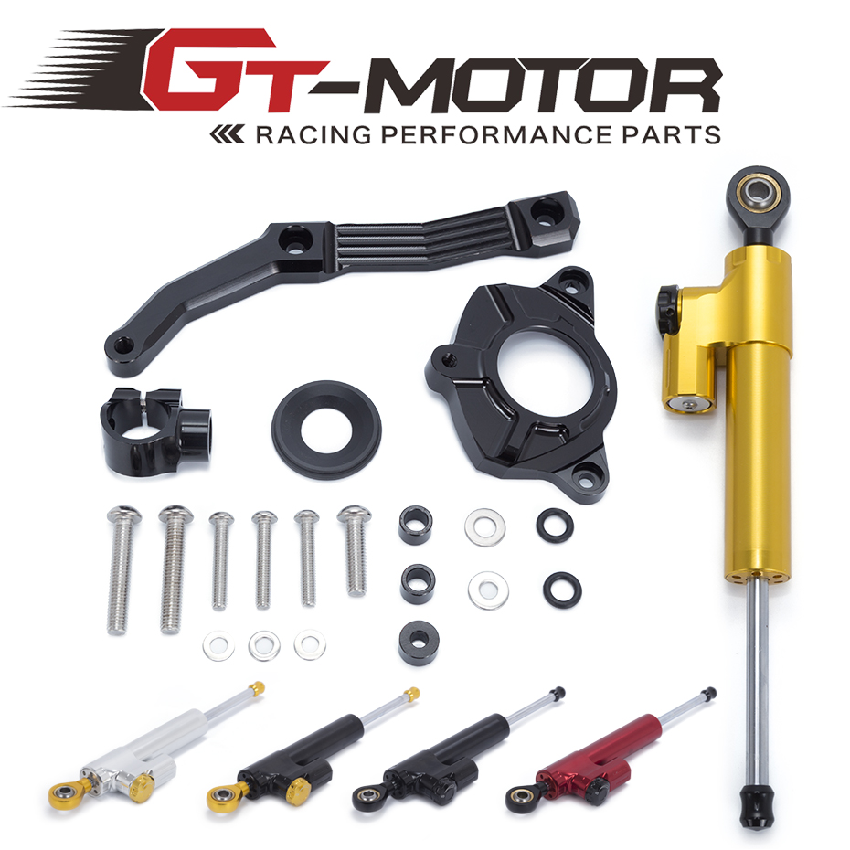GT Motor- Motorcycle CNC Damper Steering StabilizerLinear Reversed Safety Control+Bracket For KAWASAKI Z1000 2010 2011 2012 2013