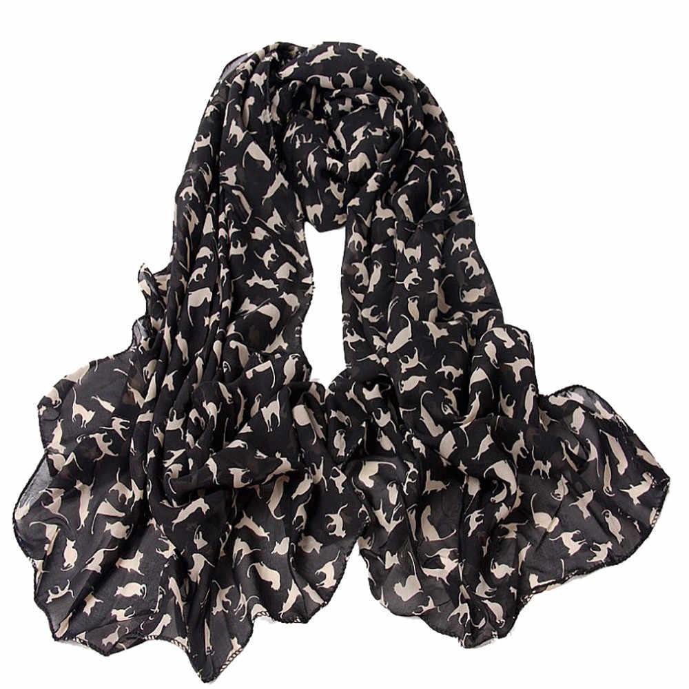 Wanita Chiffon Syal Sutra Musim Panas Musim Gugur Panjang Desain Sutra Syal Selendang Vintage Hitam Panjang Syal Hangat Foulard Femme #38