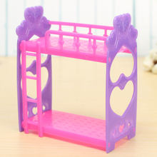 Plastic Miniature Double Bed Toy Furniture For Dollhouse Mini Doll Dream Closet Playing House Toys Decoration Toys Gifts(China)