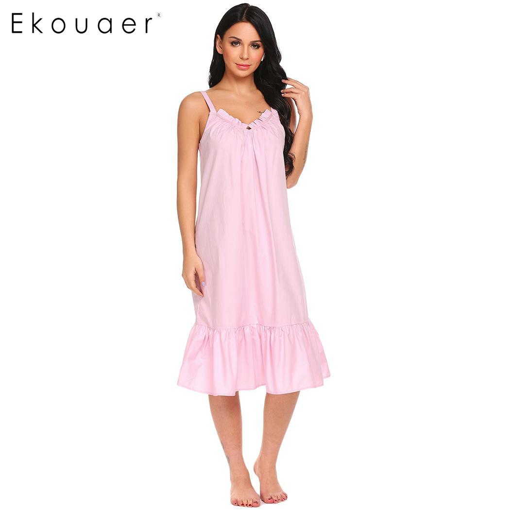 Ekouaer Vintage   Nightgown   Cotton Night Dress Women Solid V-Neck Spaghetti Strap Ruffles Sleep Dress   Sleepshirts   Long Nightdress